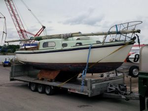 sailboat on trailer before renovation