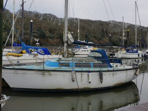 1979 Dufour 2800 in water before renovation